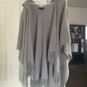 One size grey fringe poncho